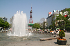 The fountains in Sapporo's central Odori Park